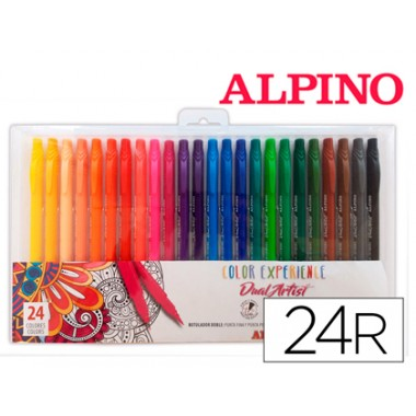 Marcador Alpino Dual Artist Color Experience Caixa De 24 Unidades Cores Sortidas  Escritório